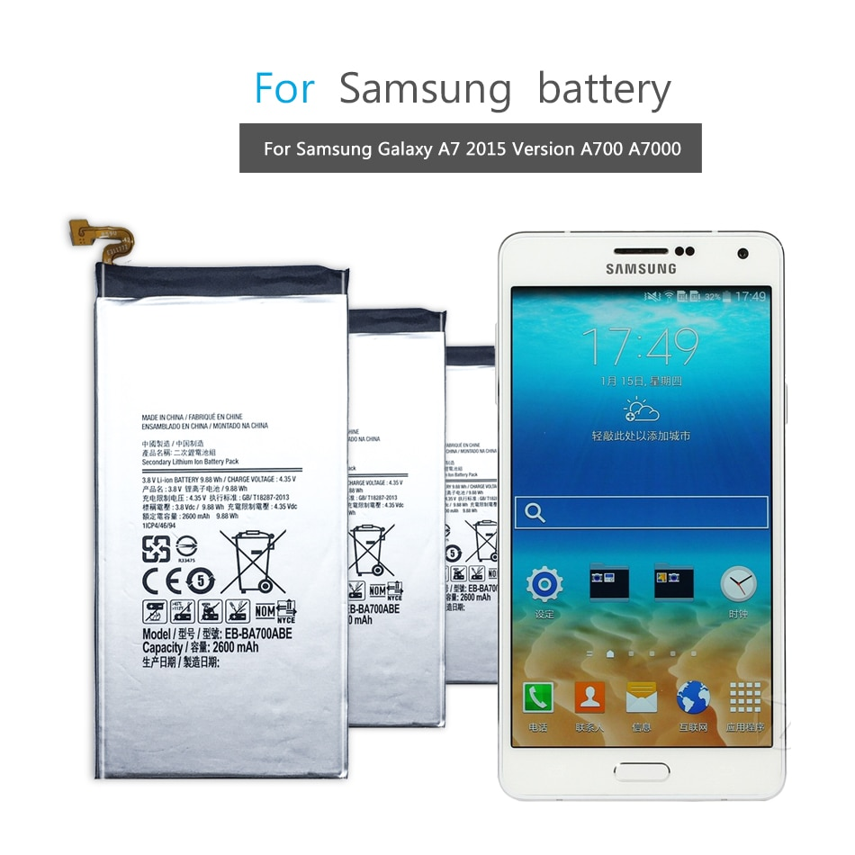 Batería del teléfono móvil para Samsung Galaxy A7 2015 SM-A700F SM-A700FD SM-A700S SM-A700L SM-A700 batería EB-BA700ABE 2600mAh