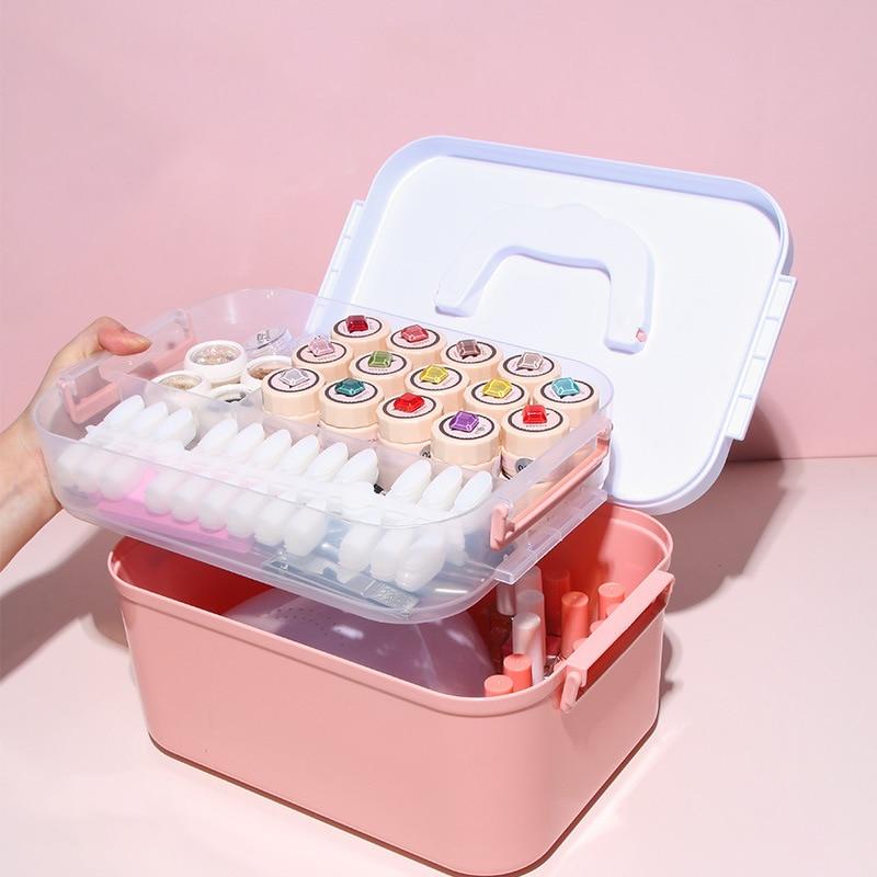 1Pcs Nail Tool Storage Box Large Capacity Makeup Organizer Nail Polish Container Nail Tool Box
