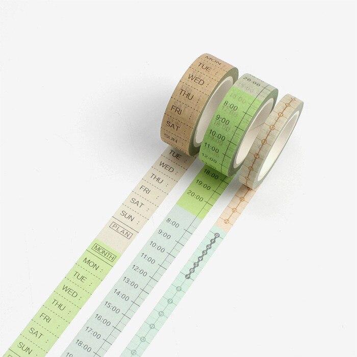 Juego de 3 piezas de agenda para álbum de recortes, cintas Washi, diario decorativo, cinta adhesiva japonesa, suministro de papelería, paquete de Washitapes