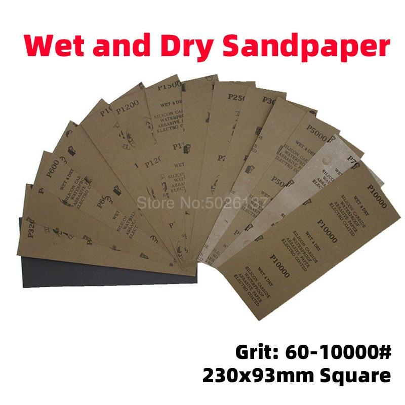1 pièces 93X230MM Long carré papier de verre humide sec sable papier bois abrasif feuilles polissage ponçage étanche émeri meulage