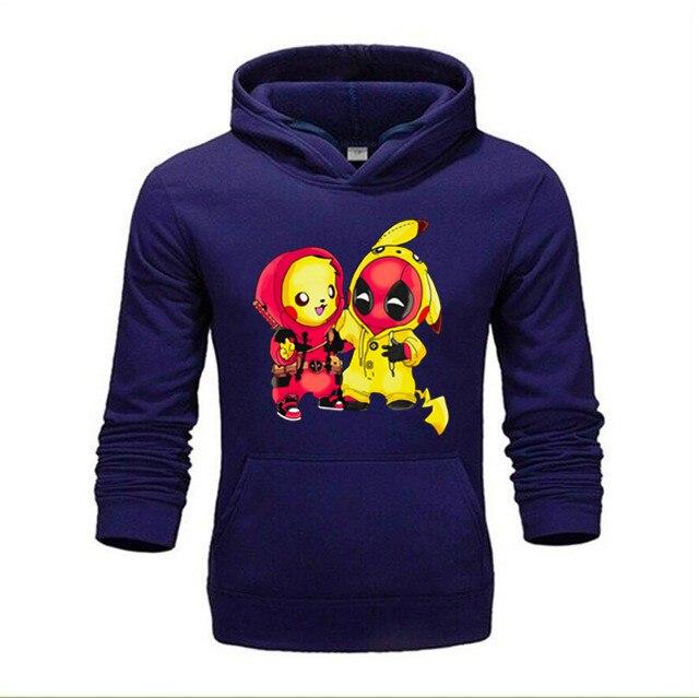 Sudadera con capucha divertida de Deadpool y Pikachu de dibujos animados, Sudadera con capucha, Jersey divertido Unisex de gran calidad, XS-4XL de talla para hombre