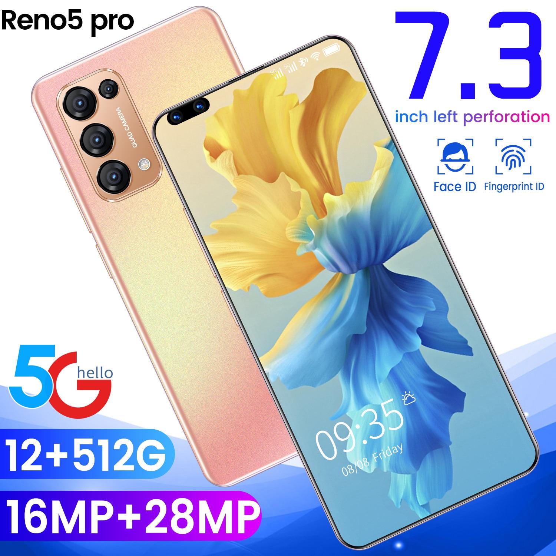Global Version Reno5 Pro 7.3 Inch 16GB RAM 512GB ROM Fingerprint Unlock Smart Phone Deca Core Dual SIM Mobile Cell Phone MTK6797