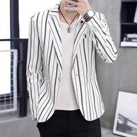 mens blazer spring and autumn 2021 new vertical stripe slim single button casual blazer homme mens suits blazers