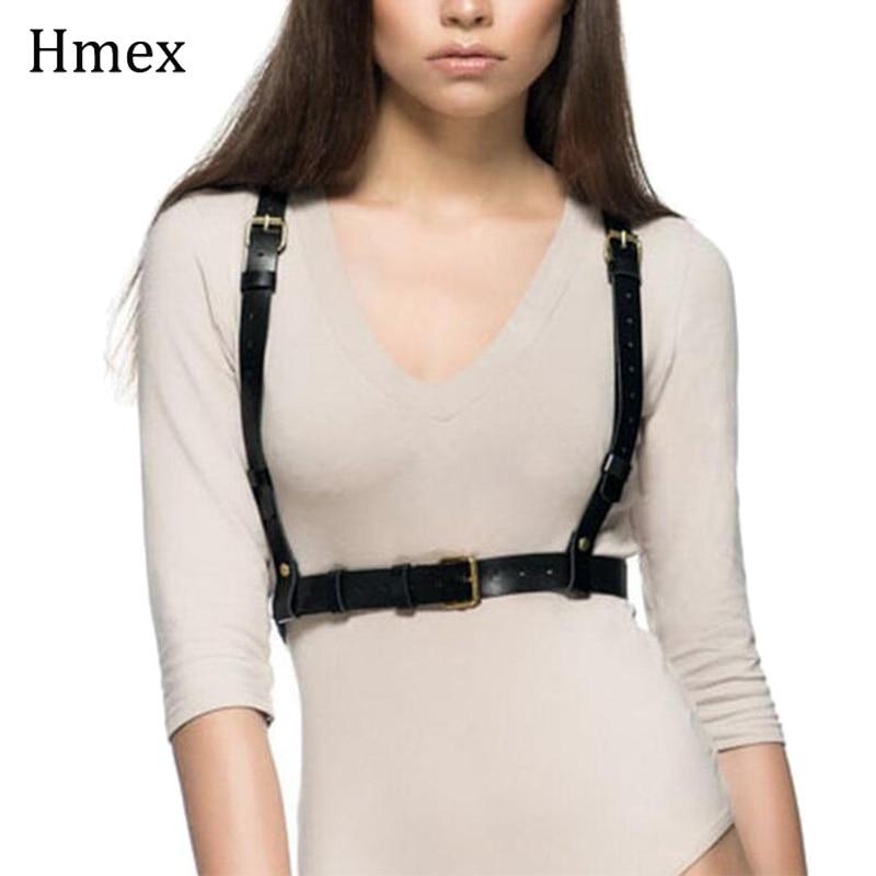 Moda casual terno correias cintura fina liga cintos mulheres sexy goth falso couro cinto cinto suspensórios cinzelando peito