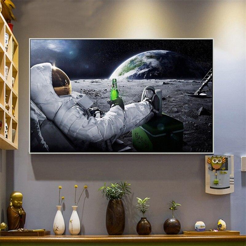 Lienzo moderno impresión en lienzo pintura en lienzo carteles e impresiones astronautas beber cerveza en el espacio cuadros de pared para el arte de la sala de estar