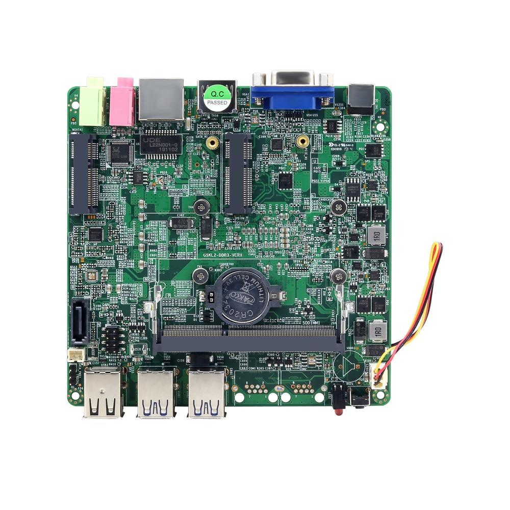 Intel Core i5-7200U Mini PC placa base 4 * USB3.0 2 * USB2.0 VGA HDMI Mini PCIE WiFi SATA 6 Gb/s SATA DDR3L LAN Gigabit 12V 5A 12x12CM