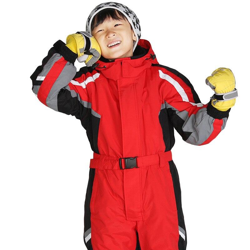 New Fashion Winter Children's One-piece Ski Suit GIRL'S And BOY'S Thick Warm Snowboard Underwear Waterproof Child Wearable Set