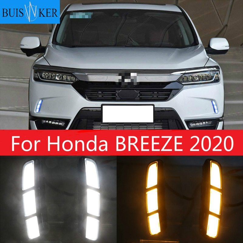 1Set led For Honda BREEZE 2020 DRL Daytime Running Light DRL with yellow turn signal fog lamp Relay Daylight