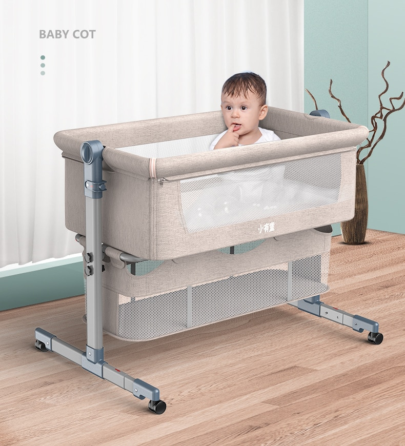 Removable Washable Baby Crib Foldable Cradle for Newborn Height Adjustable Baby Cradle Bed Nursery Baby Cot Baby Lounger 0-18M enlarge