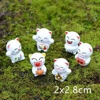 1pc6pcs lucky cat diy mini miniature fairy home garden dollhouse decoration micro landscape gift
