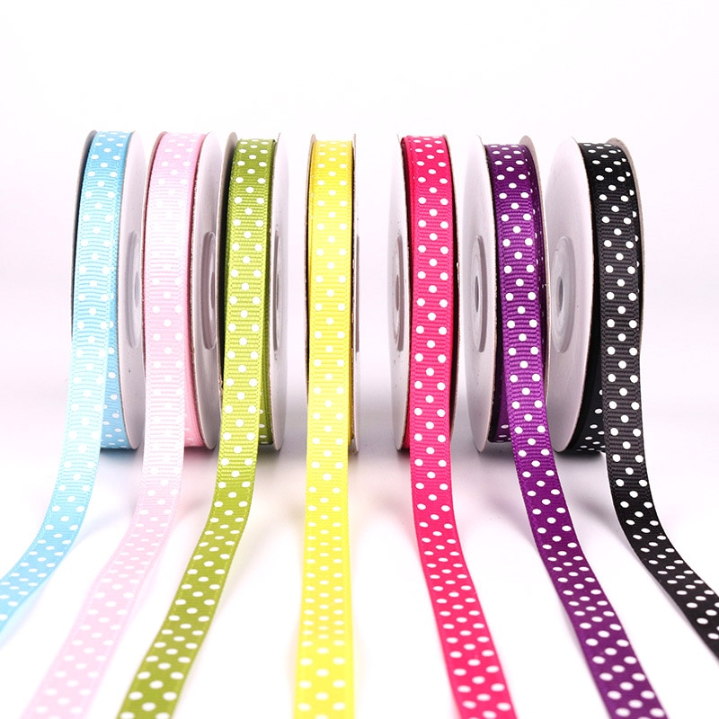 Polka Dots Printed Grosgrain Ribbons Wedding Festival Party Decorations Bow Craft Card Gifts Wrapping Supplies DIY 10mm 5Yards