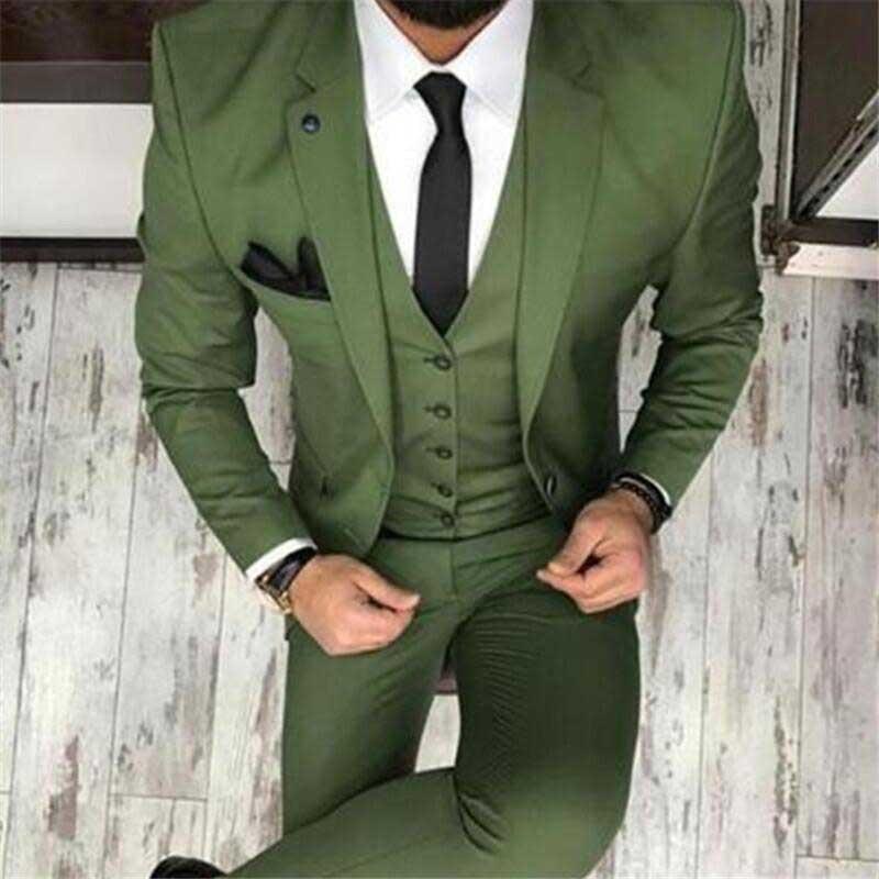 Fashion Men' S Oilve Green Blue 3-Piece Notch Blazer Classic Tuxedo Groomsmen For Party(Blazer+vest+Pants) New 2020 notch collar pleated panel blazer