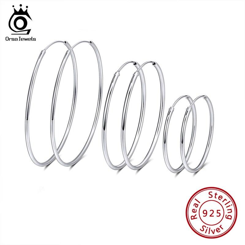 Orsa jóias sólido 925 prata esterlina redonda hoop brincos para mulher 30 40 50mm feminino círculo brincos moda jóias se146