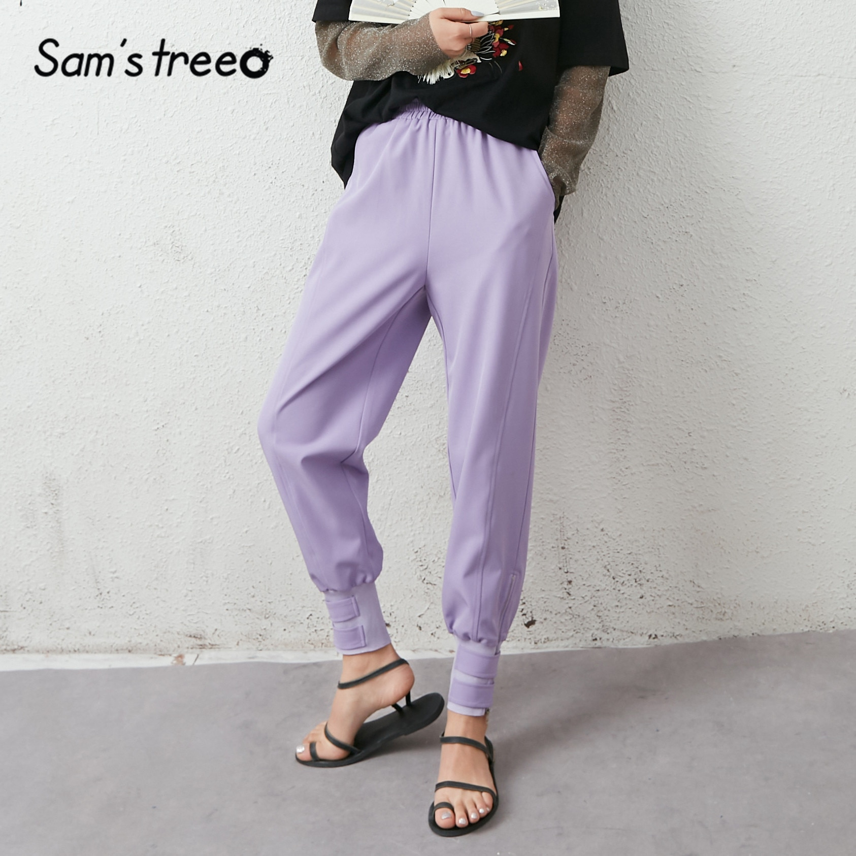 SAMS TREE negro sólido alto cintura Casual mujeres pantalones 2020 verano lavanda púrpura encaje puro Up coreano señoras Safari diario Pantalones