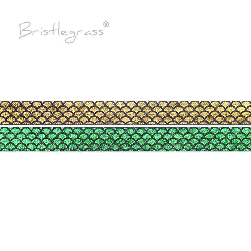 BRISTLEGRASS-مقياس حورية البحر 50 ياردة ، 5/8 بوصة ، 15 مللي متر ، أوراق ذهبية مطبوعة ، قابلة للطي ، شريط ليكرا ، تقليم خياطة ، بالجملة