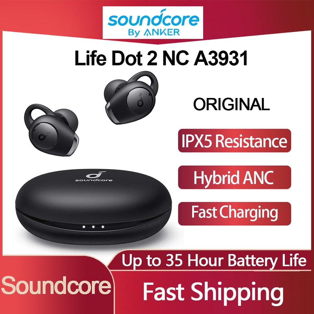 سماعات لاسلكية Soundcore Life Dot 2 NC سماعات لاسلكية A3931 TWS سماعات بلوتوث بخاصية إلغاء الضوضاء النشطة ANC Gaming مع ميكروفون من 6 إلى ميكروفون