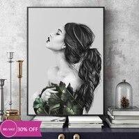 Toile de decoration de noel  affiches de peinture en noir et blanc  image artistique murale de fille a la mode pour decoration de salon  decoration de maison