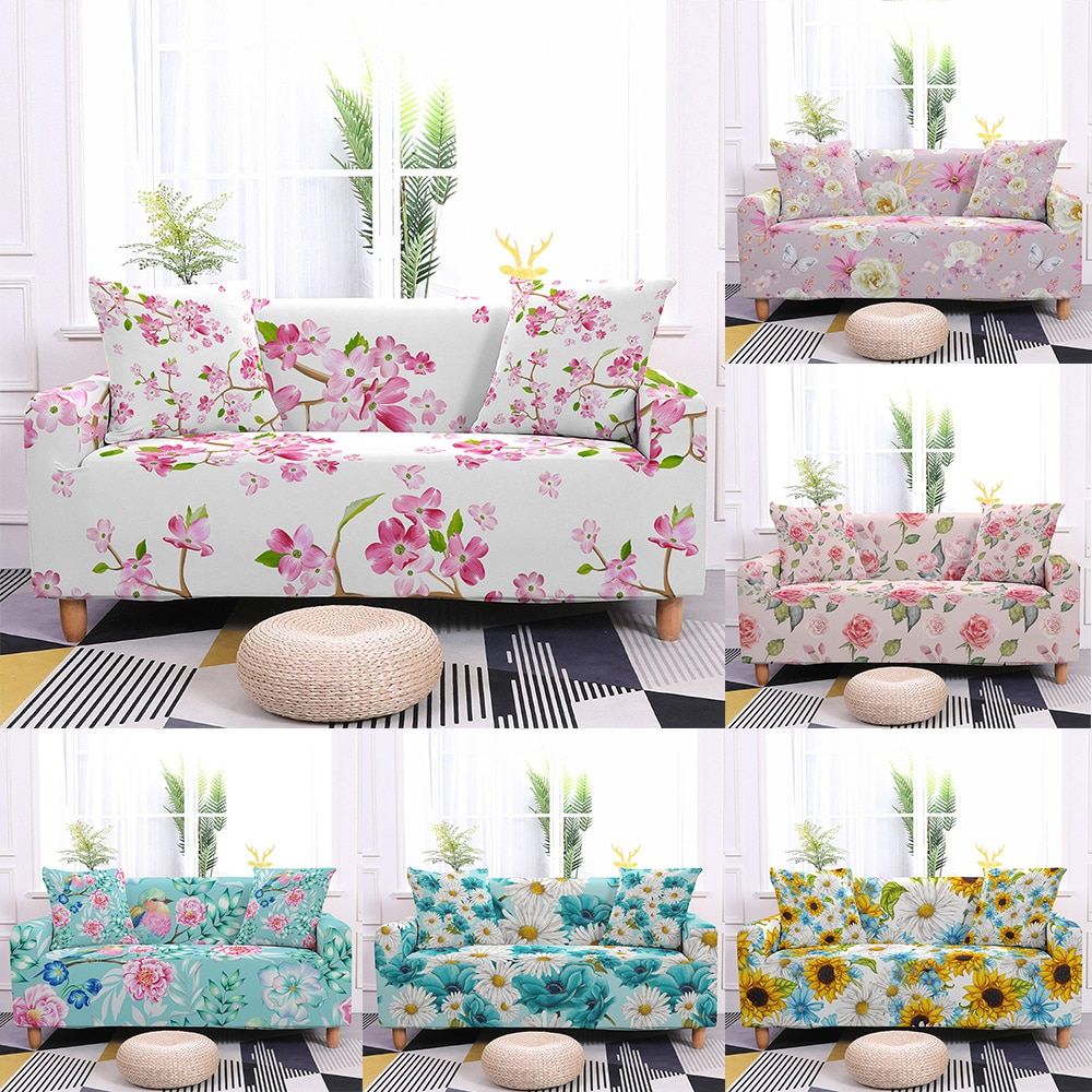 universal elastic sofa covers for living room all inclusive stretch sectional slipcovers couch cover sofa cover 1 2 3 4 seater 1/2/3/4 Seater Flower Flora Print Elastic Sofa Cover Universal Stretch Sofa Slipcovers for Living Room Couch Cover Sofa Decor
