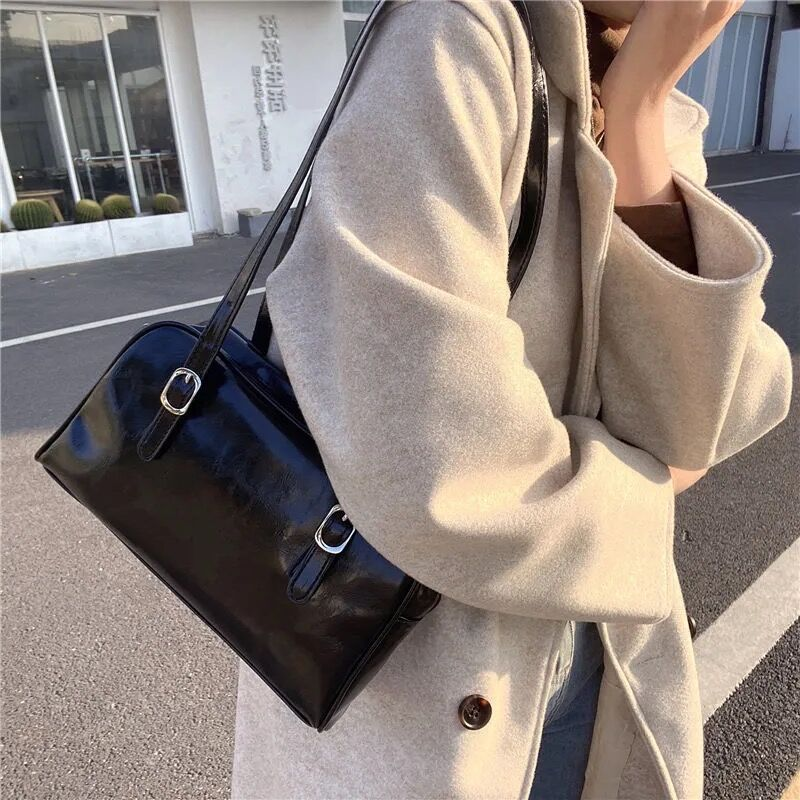 new women large capacity top handle bags pu leather splice ladies shoulder bag high quality fashion female casual tote handbag Solid Color PU Leather Women Handbags Large Capacity Ladies Shoulder Underarm Bag Fashion Design Female Travel Casual Tote Bags