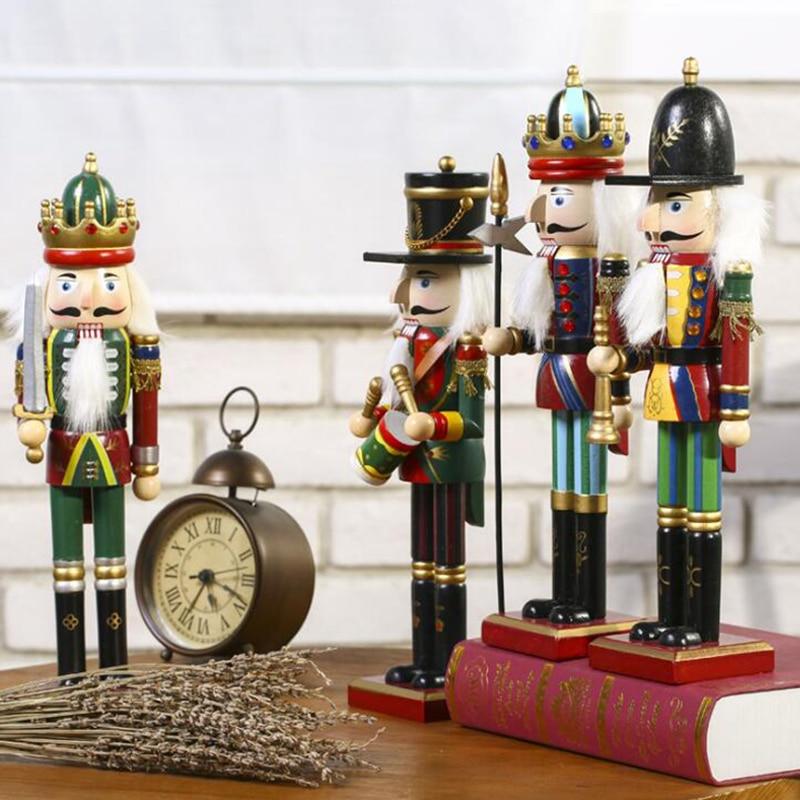 30cm Wooden Nutcracker Soldier Ornaments Nutcracker Playing band Dolls Christmas Decor For Living Room Wine Cabinet Artwork