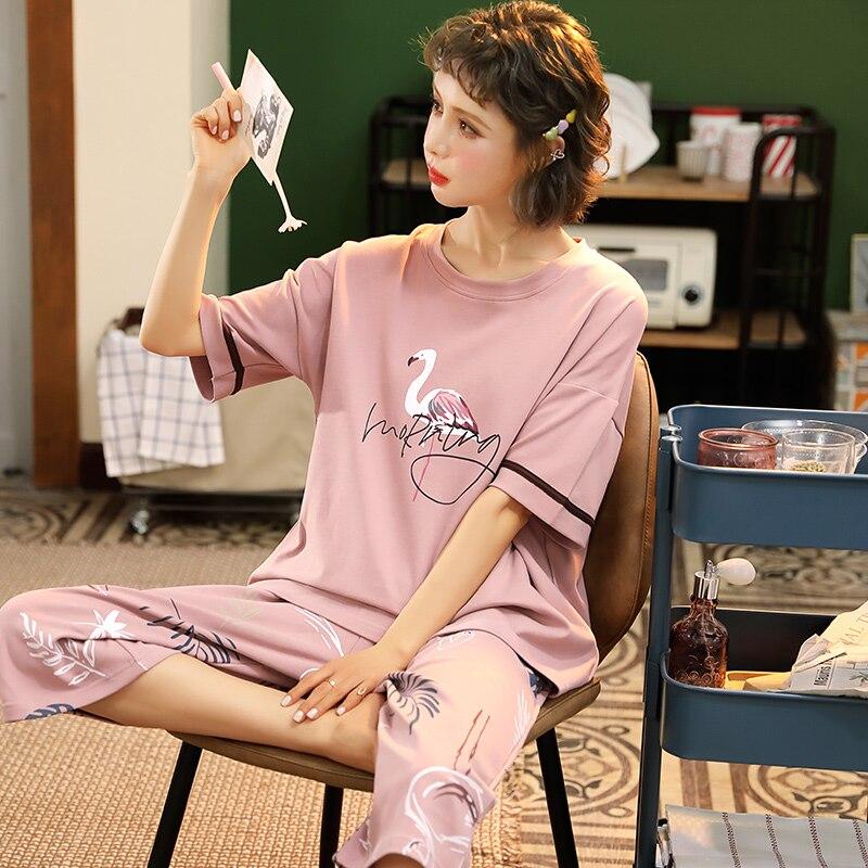 Ropa de Mujer para verano, conjuntos de Pijamas, ropa de dormir con cuello redondo, Pijamas de conejo encantadores, Pijamas Sexy de algodón de manga corta para Mujer, M-5XL de Mujer