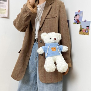 Japanese Cute Mini Bag Girl's Cute Funny Cartoon Doll Shoulder Bag Plush Lolita Bear Bag Messenger Bag
