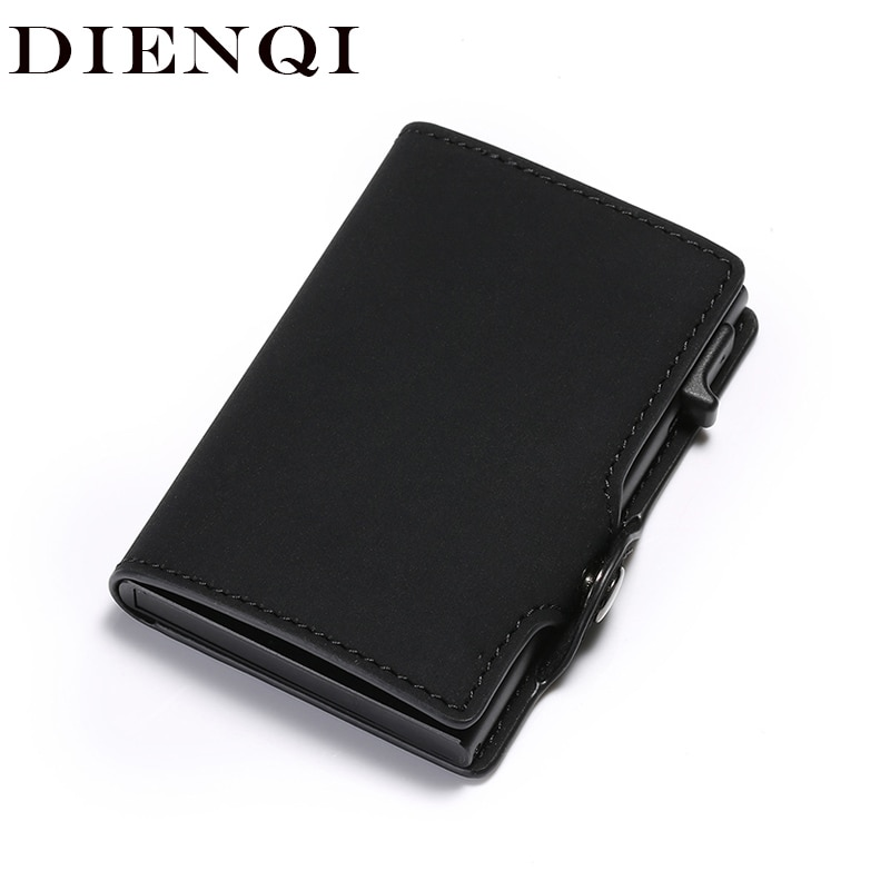 DIENQI nouveau antivol porte-carte en cuir hommes femmes Anti-magnétique carte de crédit bancaire porte-carte minimaliste portefeuille Busienss étui poche