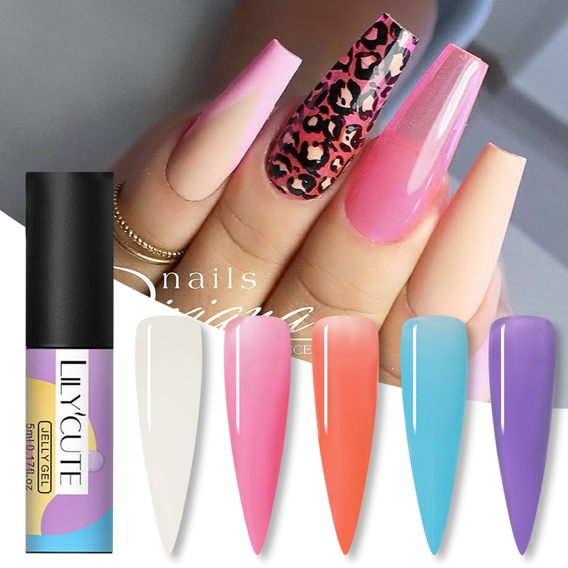 LILYCUTE 5ml Glass Jelly Gel Nail Polish Semi Permanent Soak Off UV Gel Nail Varnish Semi Permanent Long Lasting Nail Art Polish