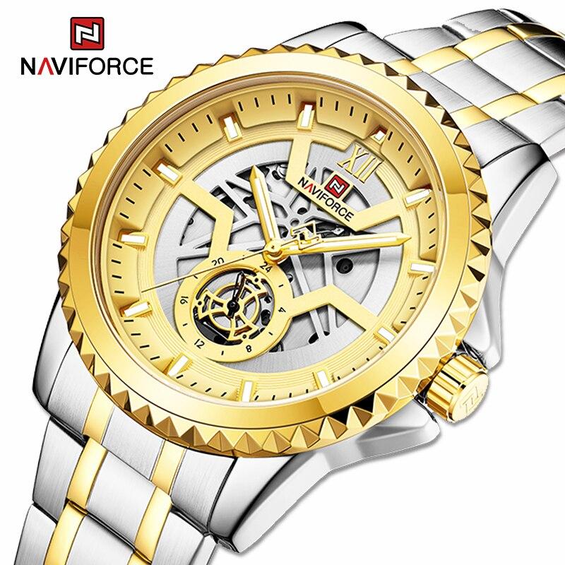 ساعات NAVIFORCE الفاخرة للرجال تناظرية ساعة رجالية مضيئة توربيون Montre مقاوم للماء الذهب الفولاذ المقاوم للصدأ ساعات المعصم