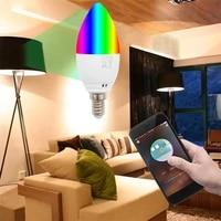 New Smart WiFi Candle Light E14 E27 RGB Light Bulb Support Alexa Google Voice Control 5W LED Home Decor Lights Bedroom Lights