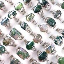 Pierre naturelle océan eau mousse Agates anneaux mode géométrique bijoux anneau pour femmes hommes cadeaux
