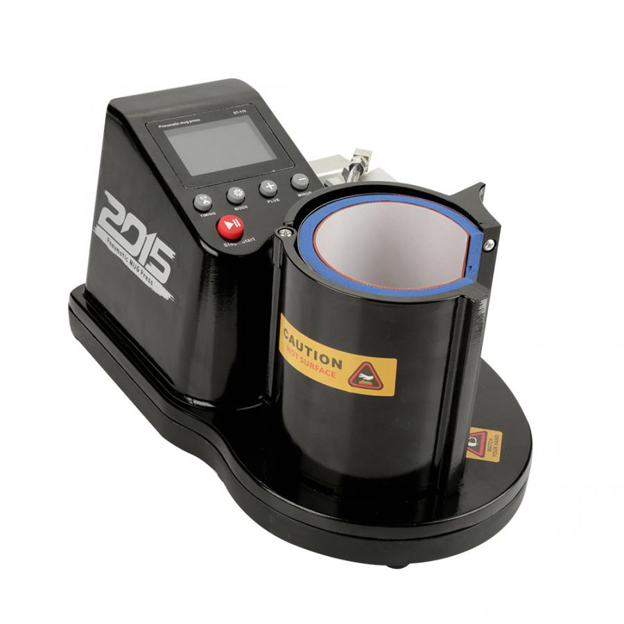 Enchufe europeo 220-240V neumático Auto taza transferencia sublimación prensa de calor máquina ST-110 herramienta eléctrica negra