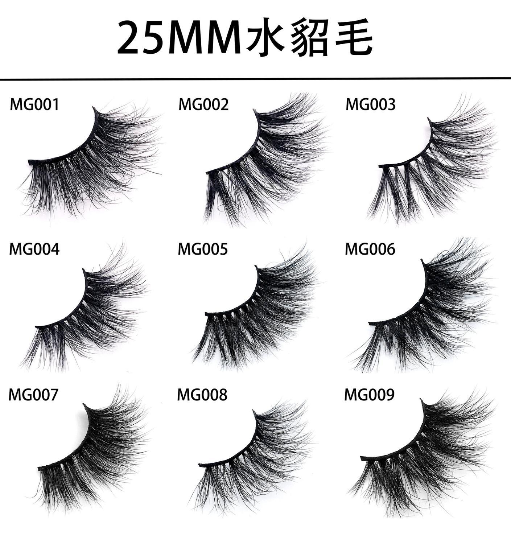 3D Mink False Lashes 100% Real Mink Fur False Eyelashes 25MM Handicraft