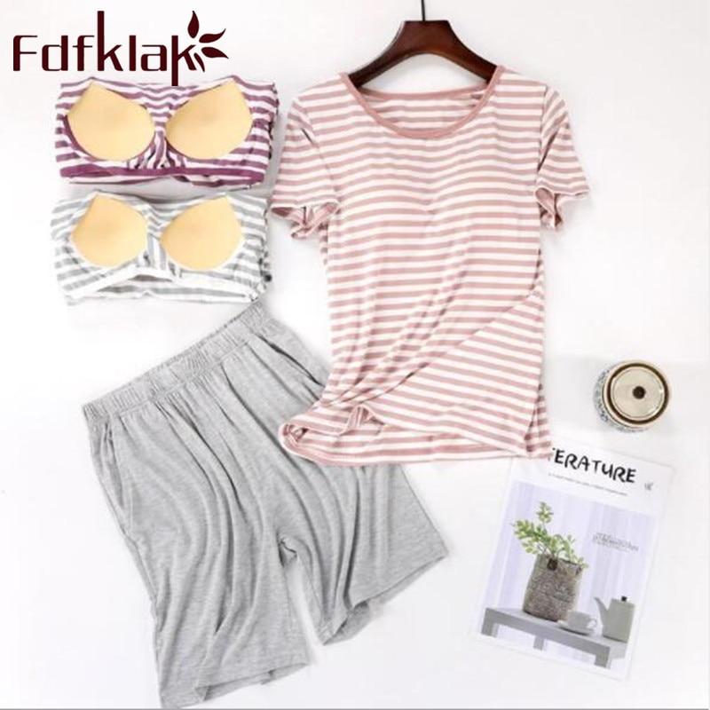 Summer Striped Home Clothes For Women's Sleep Pajamas Modal Two Piece Sleepwear Pijama Shorts Pyjama Femme Night Suit Fdfklak