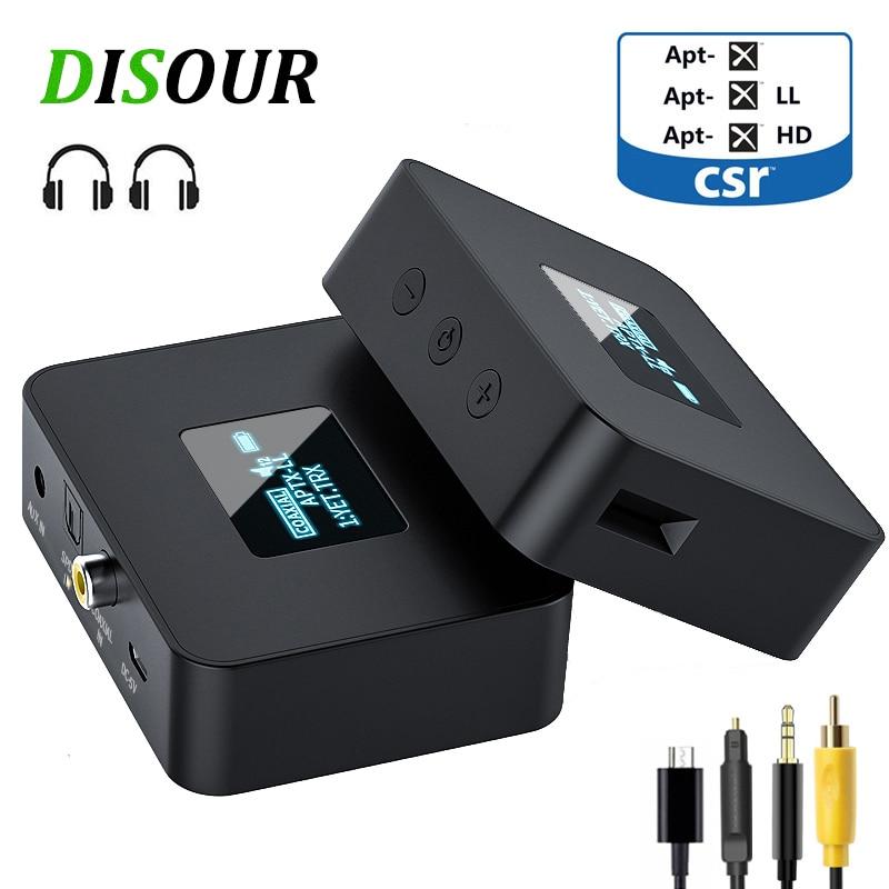 DISOUR CSR 5.0 بلوتوث جهاز إرسال سمعي APTX-HD/LL SPDIF محوري 3.5 مللي متر AUX OLED عرض ل TV سيارة محول لاسلكي دونغل