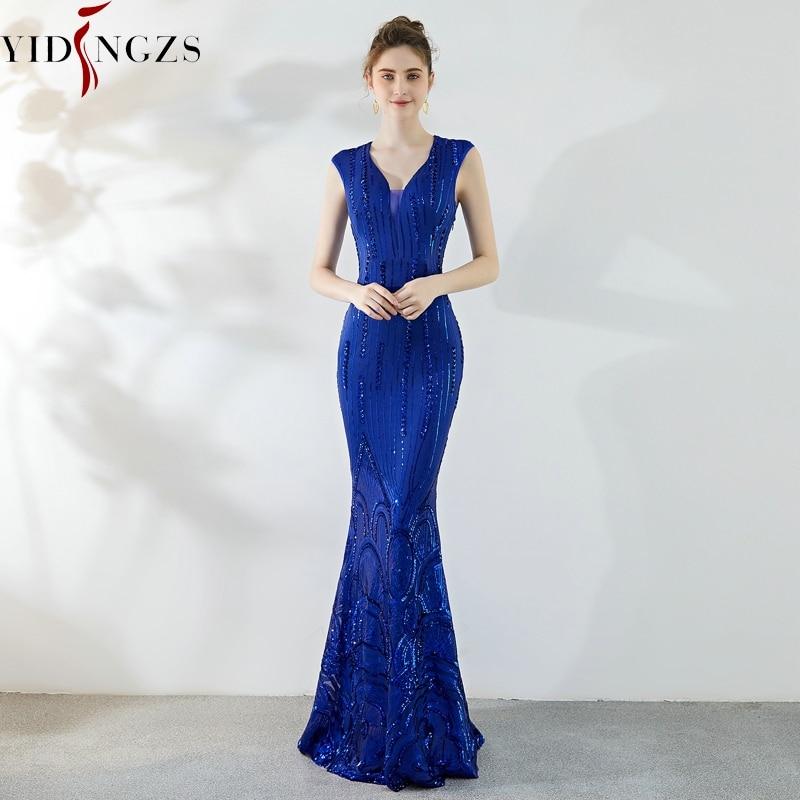 YIDINGZS فستان سهرة مطرز بالترتر الأزرق الملكي فستان الحفلات المسائية الطويلة YD921