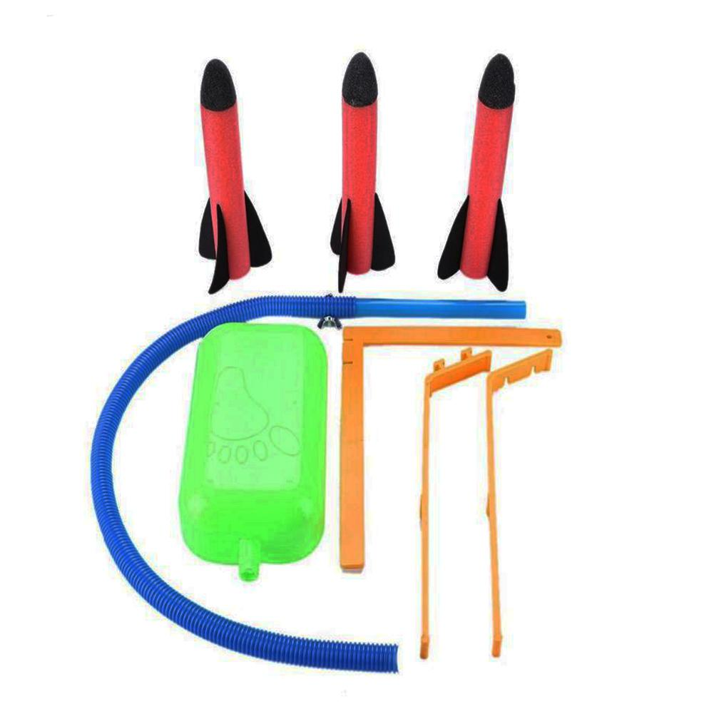Crianças pé lançador de foguetes plástico pressão ar ao ar livre ciência brinquedo educativo jogo multiplayer brinquedo para o presente do estudante