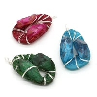 natural druzy agates pendants gold color wire wrap gem charms for jewelry making women necklace earrings crafts