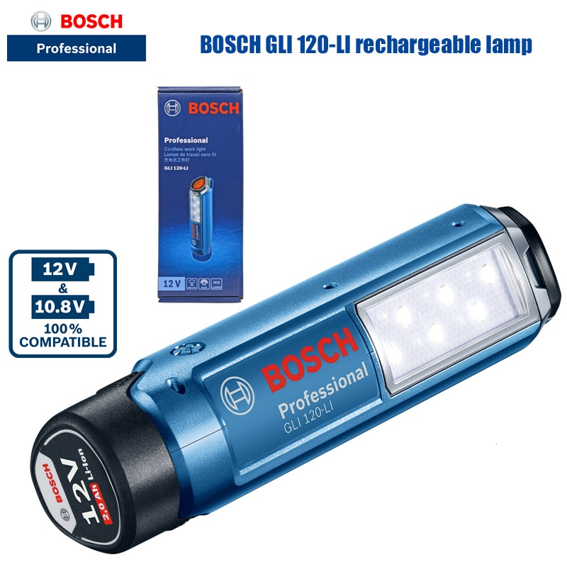 Bosch GLI 120-LI 6 مصابيح LED قابلة لإعادة الشحن ، 300 لومن ، بطارية ليثيوم 12 فولت ، مصباح يدوي