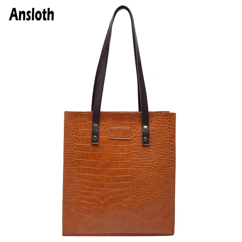 Ansloth Vintage Crocodile Pattern Shoulder Bags Women Handbags Design Brand PU Leather  Bucket Bags Luxury Totes Bag Lady HPS956