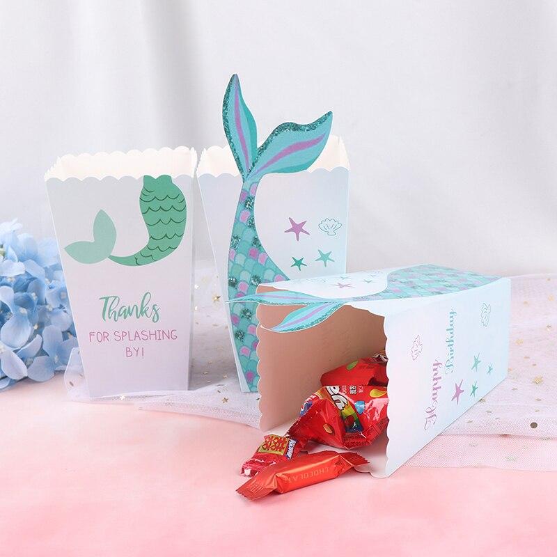 12 stücke Meerjungfrau Schwanz Candy Tasche Box Unter Die Meer Popcorn Boxen Party Favors Geschenk Geburtstag Baby Dusche Tabelle Liefert 6.5*9*14,5 cm