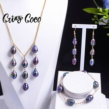 Cring Coco Freshwater Pearl Jewelry Sets Hawaiian Polynesian Jewellery Set Trend Natural Pearls Earr