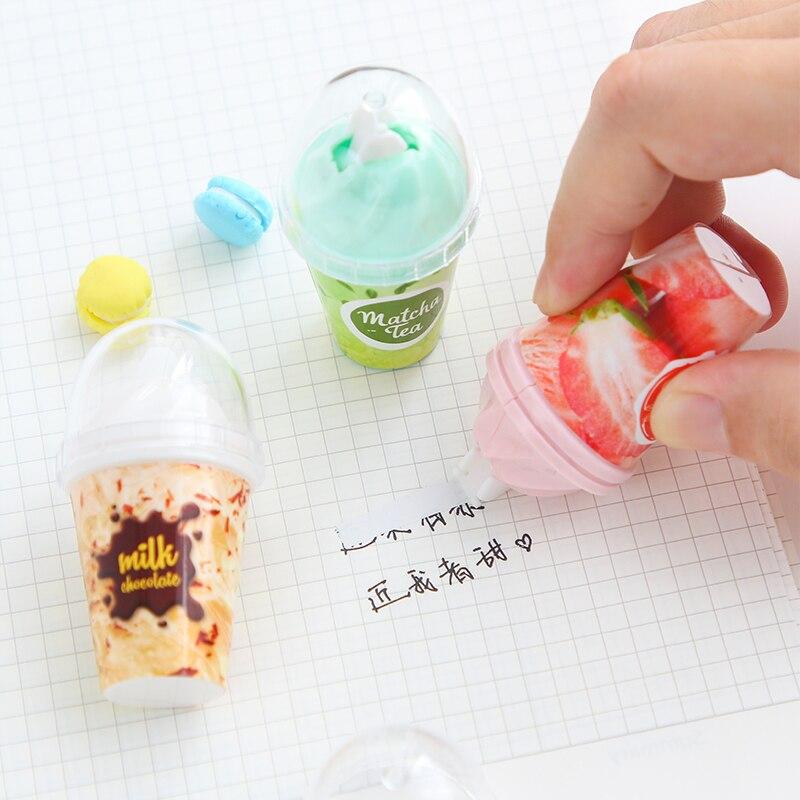 Milch Tee Tasse Eis form Korrektur Band Klebstoff Kleber Korrektur werkzeug student schreibwaren großhandel kawaii schule liefert