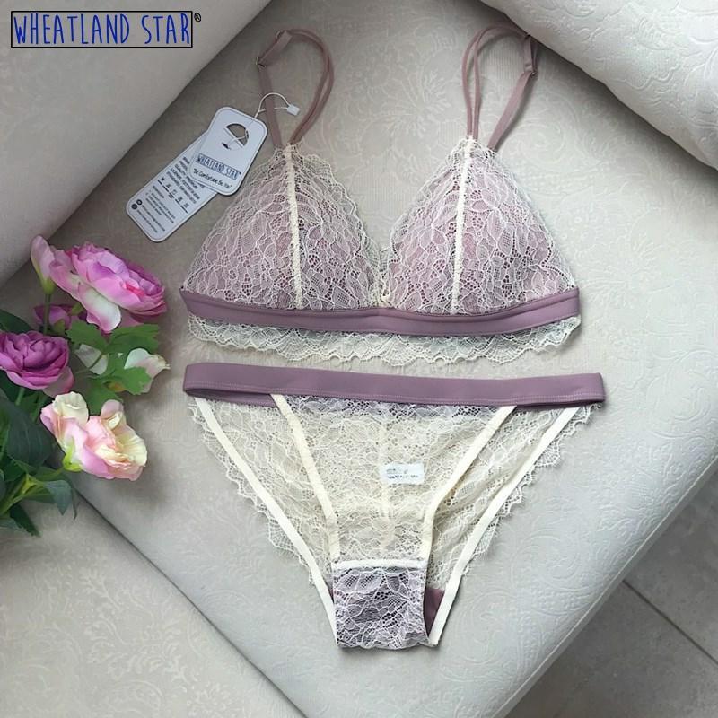 Lenceria Thin Lace Wire Free Bra Underwear Women Set Brassiere French Style Bralette Summer Intimate Womens Intimates