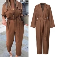 celmia rompers fashion jumpsuits women suit collar long sleeve plus size casual solid cargo pants elegant pockets work overalls