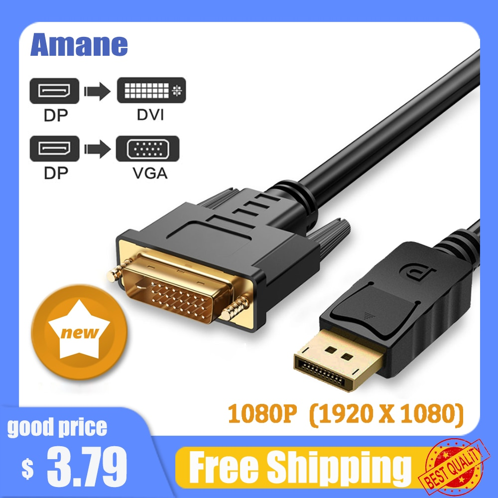 Displayport a Cable DVI DP, convertidor VGA 1080P, adaptador de pantalla a...