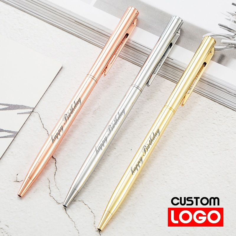 AliExpress - New Metal Ballpoint Pen Rose Gold Pen Custom Logo Advertising Ballpoint Pen  Lettering Engraved Name Advertising Pen