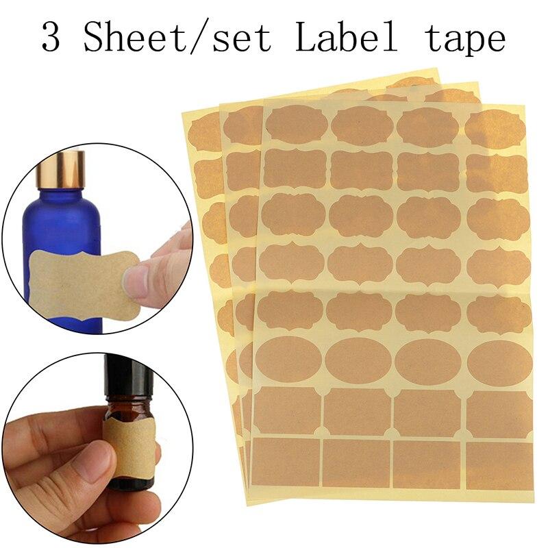 ¡Nueva Arriva! 3 hojas de papel Kraft vacío aceite esencial botella de Perfume rodillo etiquetas adhesivas accesorios (incluye 96 piezas de etiqueta)