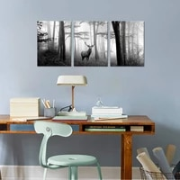 canvas painting animal wall art deer in misty forest posters and prints wall pictures for living room decoration home decor