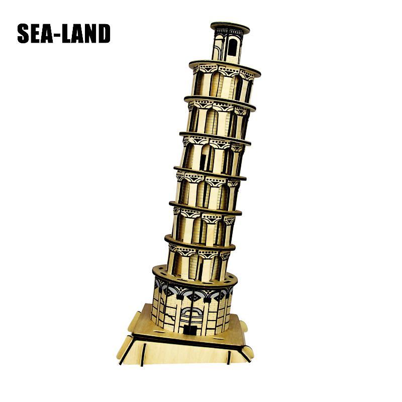 Chico s juguetes de madera 3D rompecabezas para niños torre inclinada de Pisa Montessori Educationaly Diy juguete desafío IQ regalo para chico o de adultos